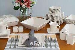 45 Piece Dinnerware Set Square Kitchen Banquet Dinner Plates Cups Dishes, Cream