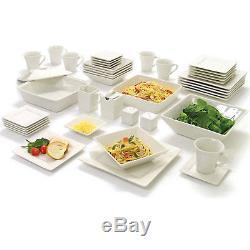 45 Piece Dinnerware Set White Square Banquet Plates Dishes Bowls Kitchen Service