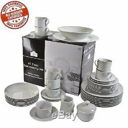 45-Piece Porcelain Dinnerware Set Service 8 Banquet Plates DIshes Bowls White
