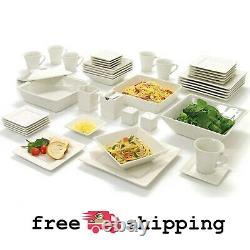 45-Piece Square Dinnerware, Set For 6 Banquet Dinner Plates Dinning Bowls Dishes