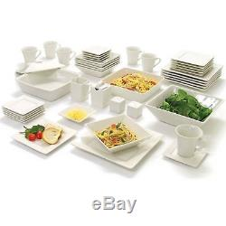 45-Piece White Dinnerware Set Dinning Plate Dish Bowl Cups Dinner For 6 Square