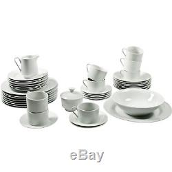 45-Piece White Dinnerware Set Dinning Plate Dish Bowl Cups Dinner For 8 Round