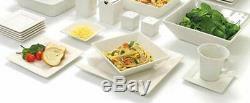 45 Piece White Dinnerware Set Square Banquet Plates Dishes Bowls Kitchen Dinner