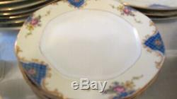 46 Piece Czechoslovakia China Dinnerware Set Cobalt Pink Roses Numbered Gilded