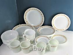 48 Pieces Corelle Butterfly Gold Dinnerware Complete 8 Place Setting Plus More