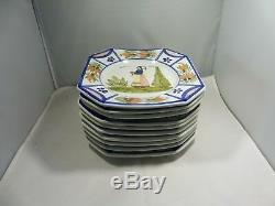 49 Pieces Of Quimper Pottery Mistral Blue Dinnerware