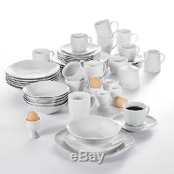 50PC Complete Dinner Set Plates Bowls Cups & Saucer Set Ceramic Dinnerware White