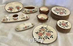 52 PCS Vintage 1955 Stangl Pottery Wild Rose Hand Painted Dinnerware Set