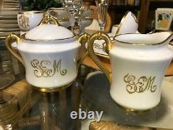 54pc Bavarian White Thomas China Set/gold Rim & Monogramexcellent