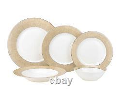 57 Piece Euro Porcelain Gold Band Fine Bone China Dinner Dish Set for 8 White