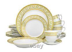 57 Piece Euro Porcelain Gold Greek Key Fine China Dinner Dish Set for 8 White