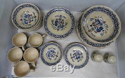 59 Piece set of Johnson Bros Old Granite Hearts and Flowers Dinnerware