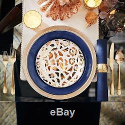 (6) Pier 1 Metallic Gold Leopard Print Salad Accent Plate Porcelain Dinnerware