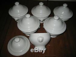6 sets Apilco France lidded lion handle footed Bouillon cup cream soup bowls