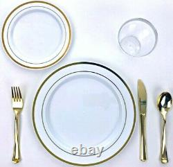 600 Piece Gold Plastic Dinnerware Set 100 Guests Plates Cutlery Cups Bpa Free