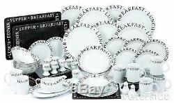 65Pc Porcelain White & Black Dinner Side Plate Bowl Set Dinnerware Crockery Set