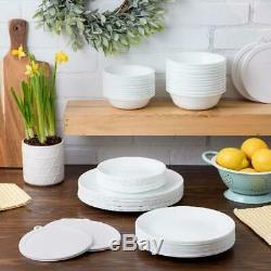 66-Piece White Dinnerware Set Corelle Livingware Winter Frost Service for 12