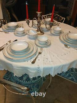 76 pc. Vintage NORITAKE China Dinnerware Leslie 12 settings WHITE with SILVER