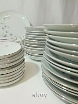 77 Piece Platinum Star Burst Dinnerware China Set By Creative of Japan, 1014