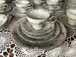 77 Pieces -Johann Haviland Bavaria Germany -Blue Garland -Dinnerware Service