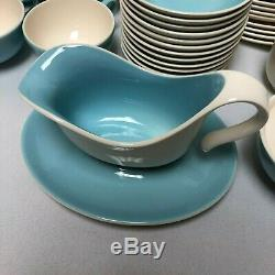 78 Pc Set Colorcraft Adagio Blue White MID Century Modern Atomic Dinnerware Set
