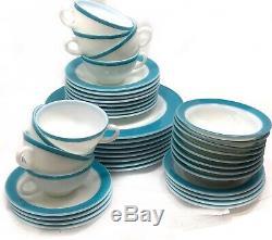 8 VTG Mid Century Pyrex White Milk Glass Turquoise Blue Band 50s Dinnerware Sets