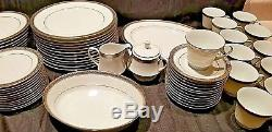 88 Piece Noritake Legendary Crestwood Platinum 4166 Dinnerware Service Set