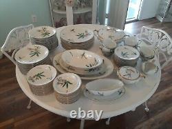 89 piece Vintage Noritake Canton Dinnerware Set Oriental Orient Bamboo Dishes