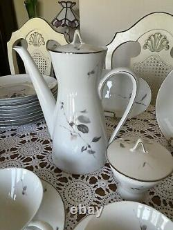 ART DECO -Rosenthal QUINCE GERMANY -86 Pieces Dinnerware Set Silver Trim