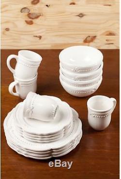 American Atelier Victoria White Dotted 16-piece Stoneware Dinnerware Set