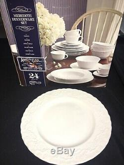 American Living MEREDITH Complete 24 Pc Dinnerware NIB Dinner Plates Bowls Cups