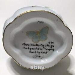 Anna Weatherley Designs Green Leaf Porcelain Vase Hand Painted Hungary M349