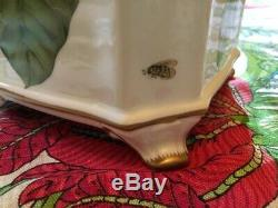 Anna Weatherley Spring Leaf Butterfly Handpainted Cachepot 24K Gold Vase