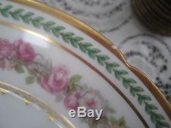 Antique 1900's GDA LIMOGES France 111 Piece Dinnerware Set Floral Gold Trim