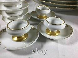 Antique CFH GDM France 1891 Limoges Gold Lining Porcelain Dinnerware Set 51pcs