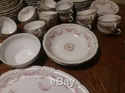 Antique China Z S & Co Scherzer Bavaria Orleans Pink Roses 70+ Pcs Dishware Set