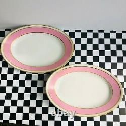 Antique Old Paris Porcelain Pink Band white Pair of platters gold band VGcd