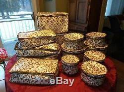 Antique Porcelain Dinnerware Set Fraureuth Gold Encrusted Edge White Serves 12