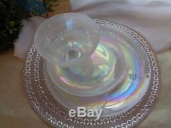 Artistic Accents Pearl White Opal Iridescent Glass 12 Pc Dinnerware Plates Bowls & Artistic Accents Pearl White Opal Iridescent Glass 12 Pc Dinnerware ...