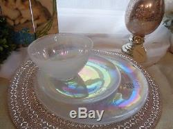 Artistic Accents Pearl White Opal Iridescent Glass 12 Pc Dinnerware Plates Bowls