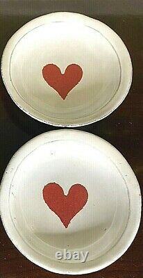 Astier De Villatte LOT OF 2 Selection Saint-Valentin Crying Red Heart Saucers