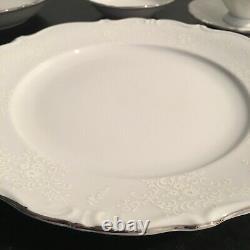 BAVARIA Western Germany Dinnerware China Set White Embossed Shadow Floral 120 pc