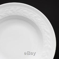 BERNARDAUD'Louvre Blanc' White Fine Porcelain Set of 6 Rim Soup/Dessert Plates