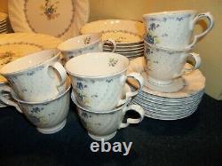 Beautiful Vintage NIKKO Blue Peony Dinnerware Set 55 Pcs. Service for 8 EUC