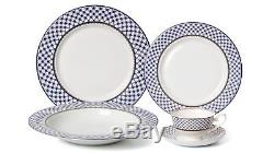 Blue And White 57-PCs Dinnerware Set for 8 person Luxury Bone China Porcelain