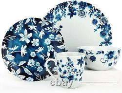 Blue And White Dinnerware Set For 4 Plates Dishes Bowls Mugs Vintage Stoneware