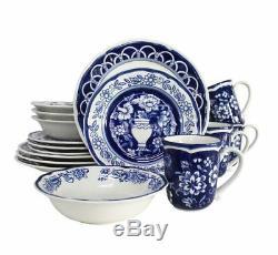 Blue Garden 16 Piece Hand Painted Stoneware Dinnerware Set by Euro Ceramica