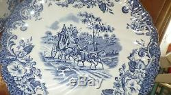 Blue White Dinnerware Johnson Brothers Coaching Scenes Ironware 1966 44 pcs EUC