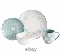 Blue & White Stoneware Dinnerware Set Plates Bowls Mugs Service for 8 32 Pieces