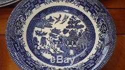 Blue Willow Dinnerware Set by Churchill Staffordshire England plus Hostes 23pcs